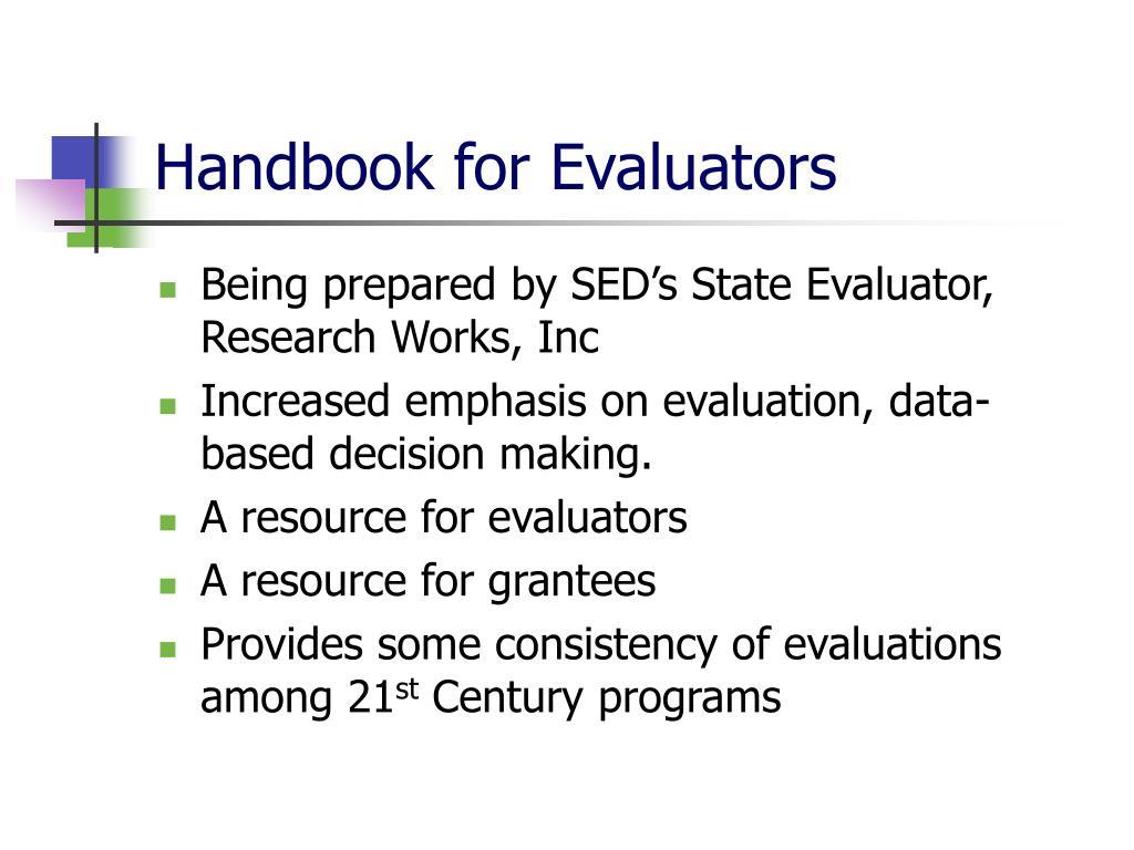 Handbook for Evaluators