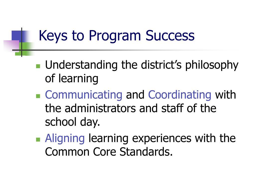 Keys to Program Success