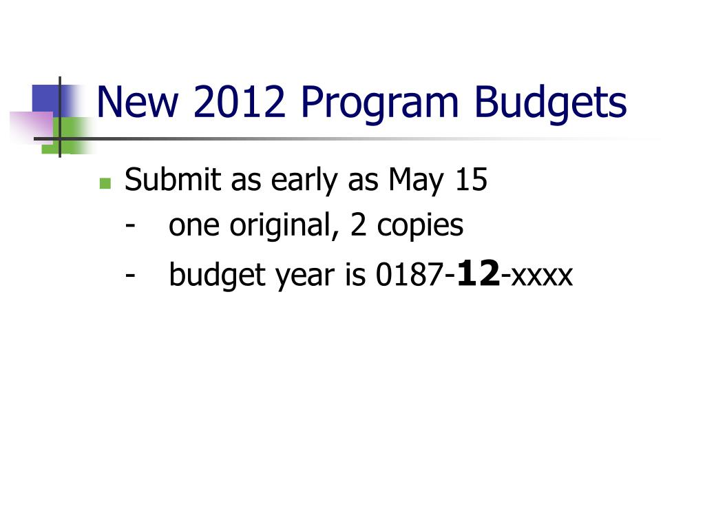 New 2012 Program Budgets