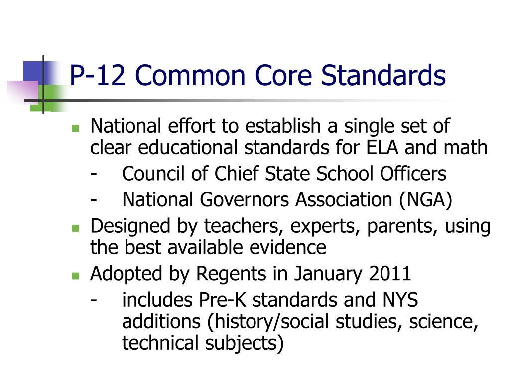 P-12 Common Core Standards