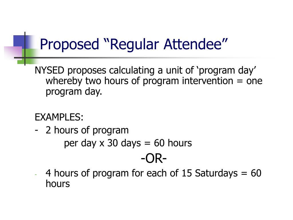 "Proposed ""Regular Attendee"""