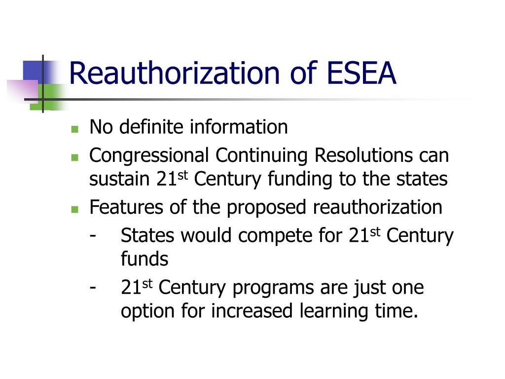 Reauthorization of ESEA
