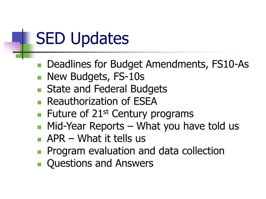 SED Updates