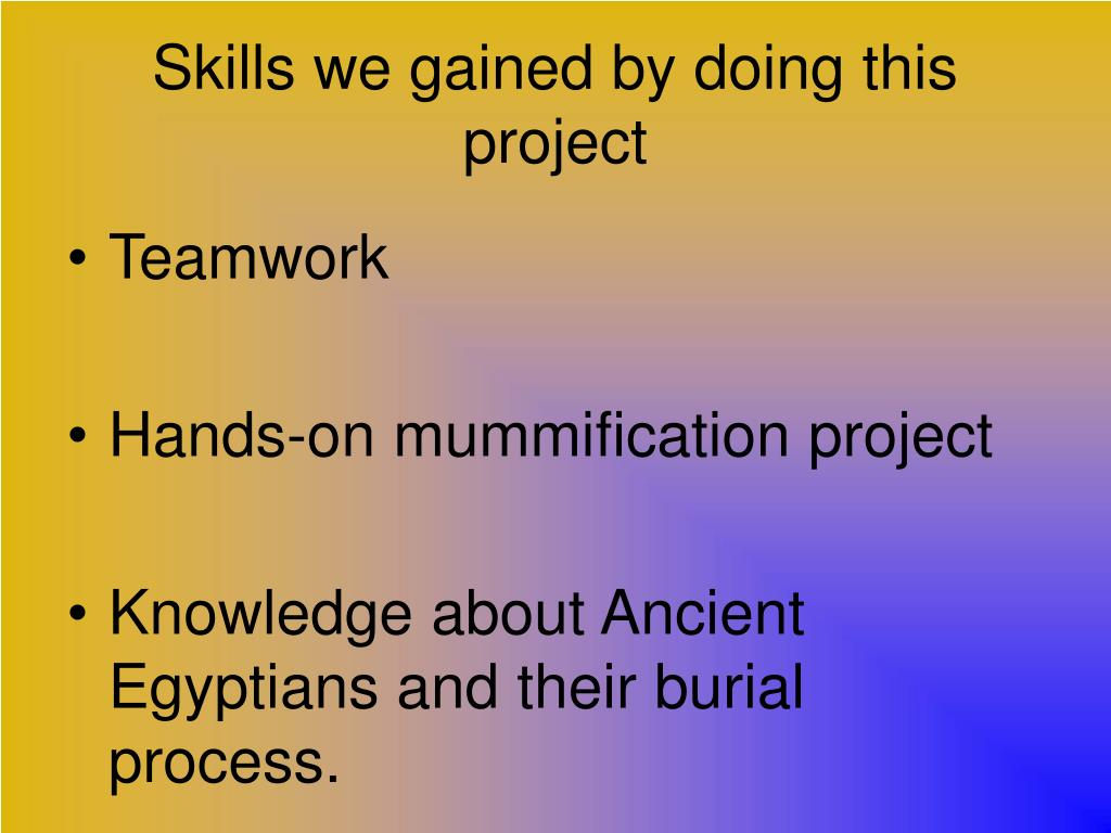 Skills we gained by doing this project