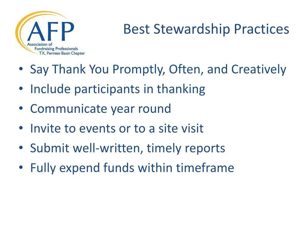 Best Stewardship Practices