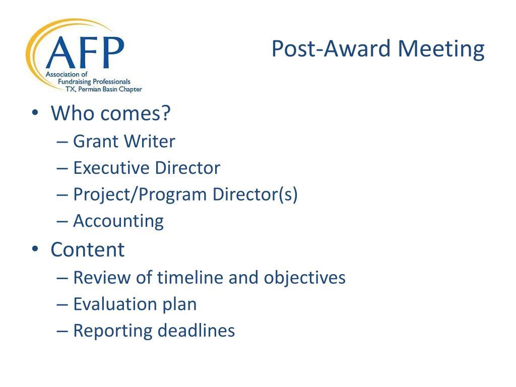 Post-Award Meeting