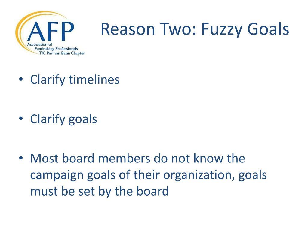 Reason Two: Fuzzy Goals