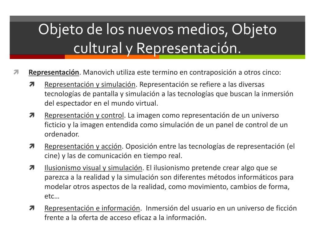 Objeto de los nuevos medios, Objeto cultural y Representación.