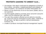 protests leading to unrest cont
