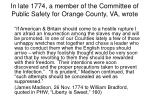 in late 1774 a member of the committee of public safety for orange county va wrote