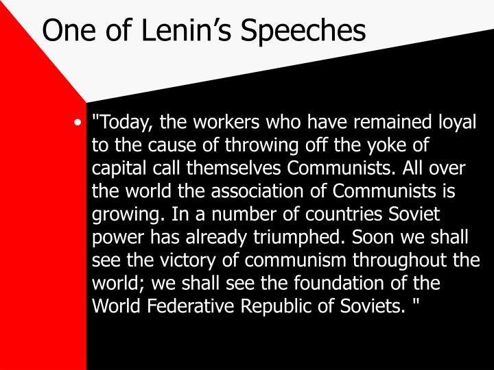 One of Lenin's Speeches