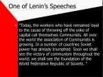 one of lenin s speeches