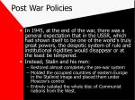 post war policies