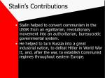 stalin s contributions