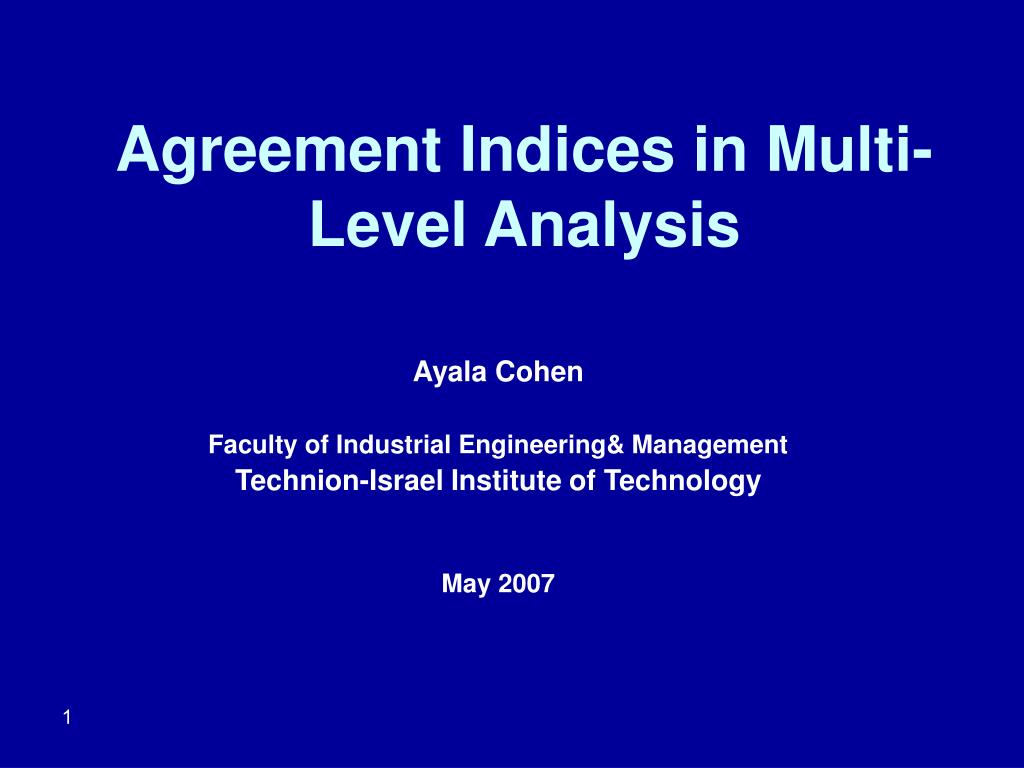agreement indices in multi level analysis l.