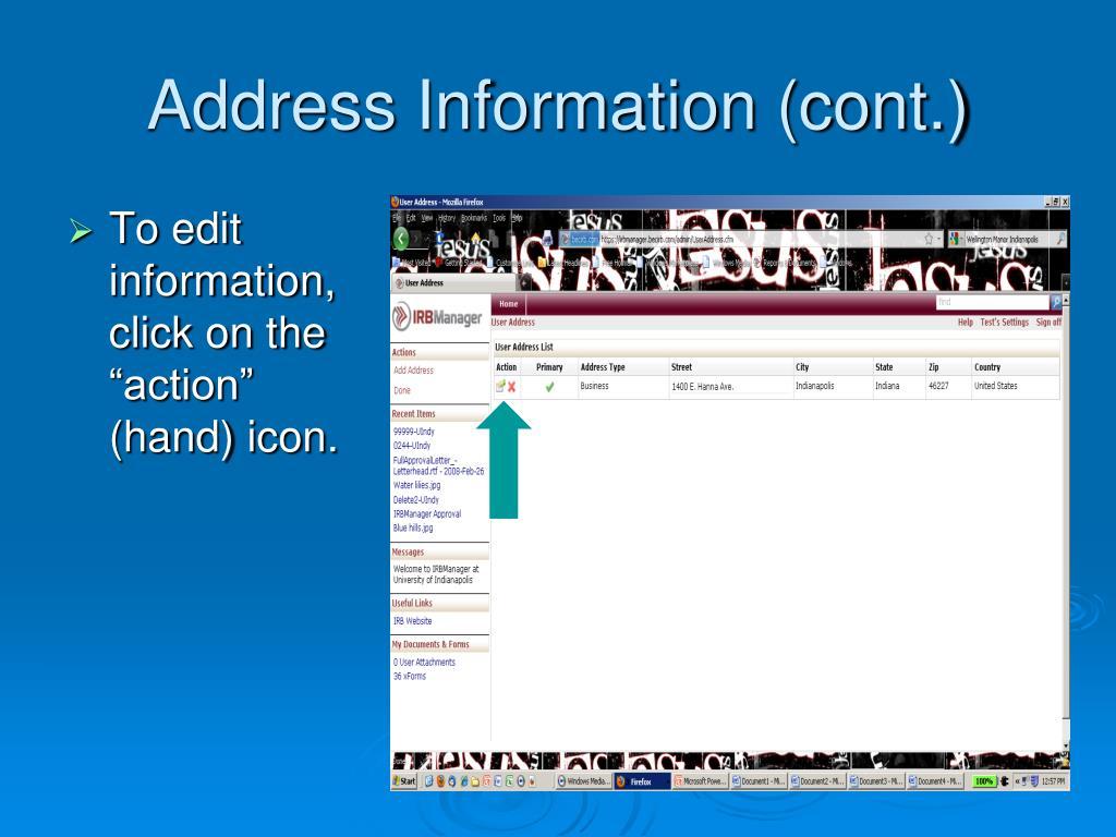 Address Information (cont.)