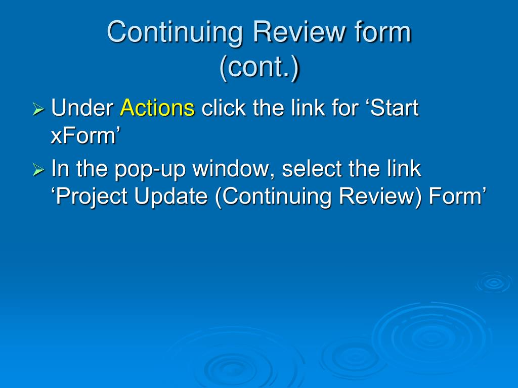 Continuing Review form