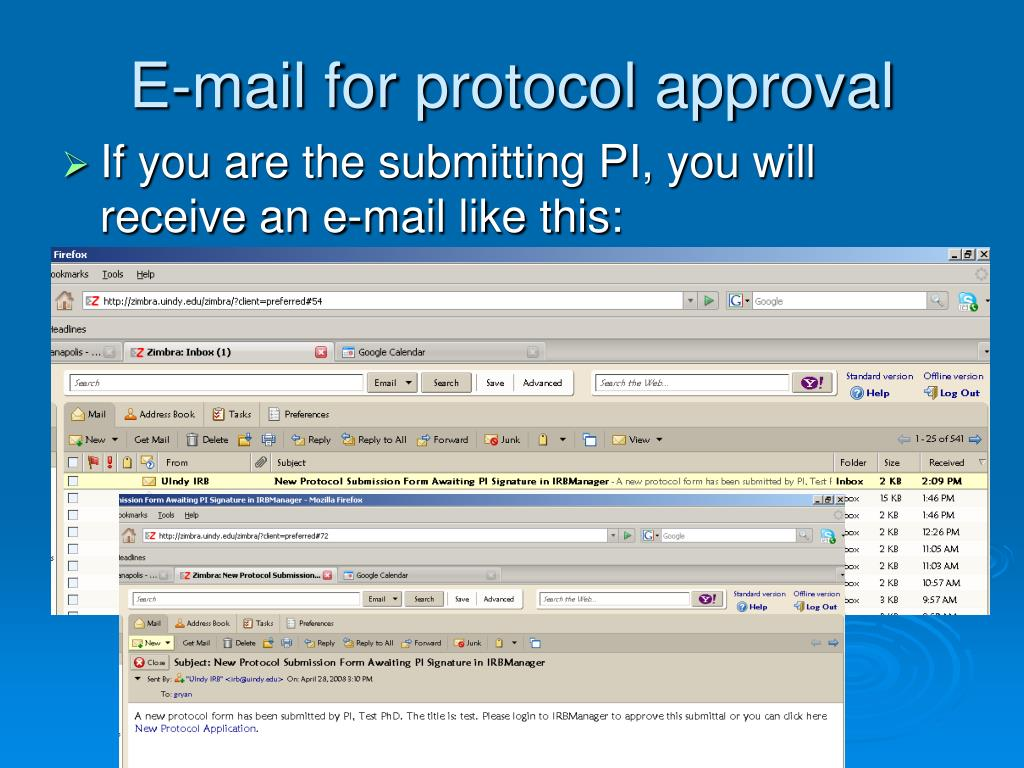 E-mail for protocol approval