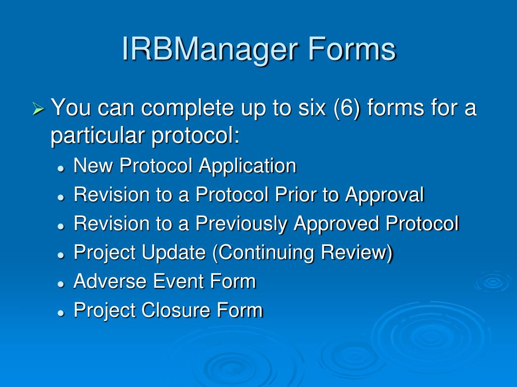 IRBManager Forms