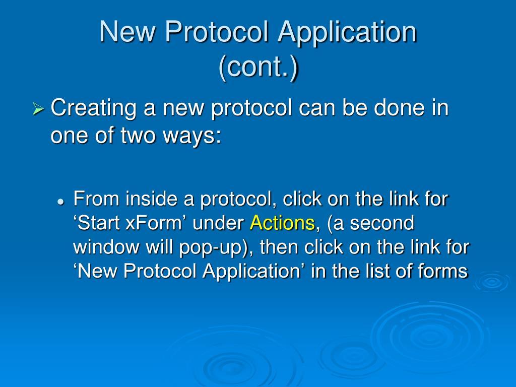 New Protocol Application
