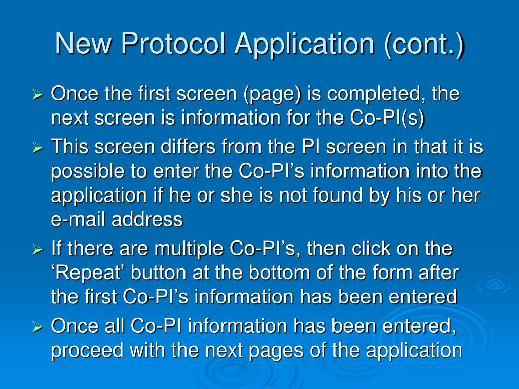 New Protocol Application (cont.)