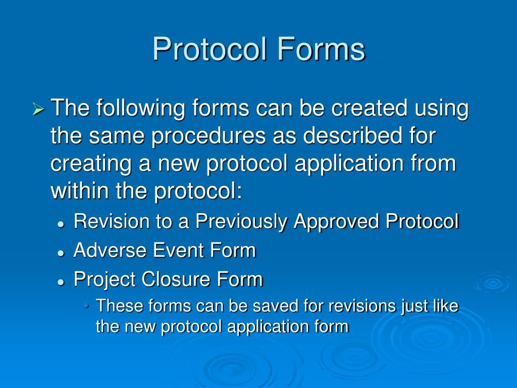 Protocol Forms