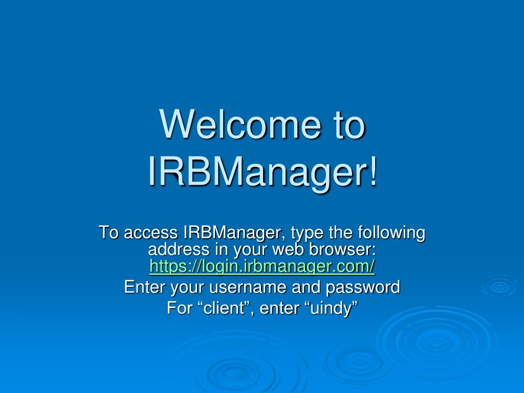 welcome to irbmanager l.