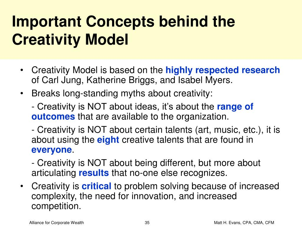 Important Concepts behind the Creativity Model