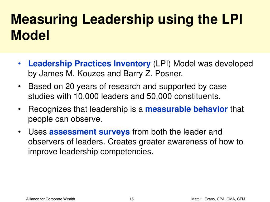 Measuring Leadership using the LPI Model