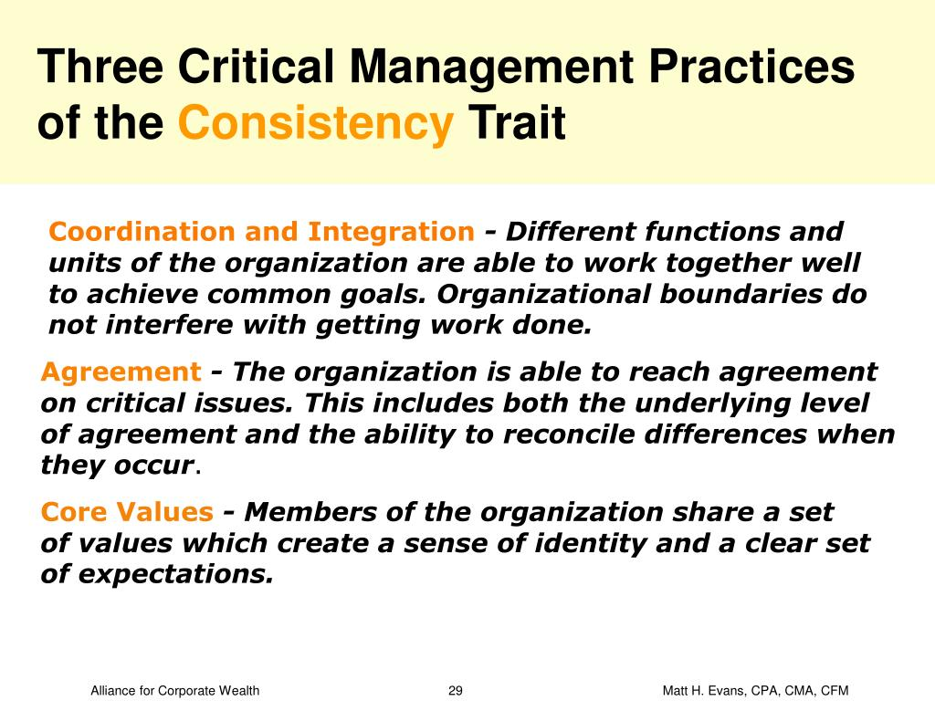 Three Critical Management Practices of the
