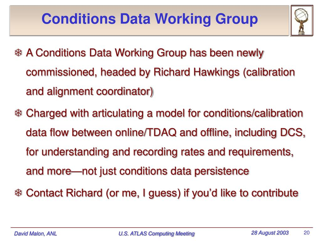 Conditions Data Working Group