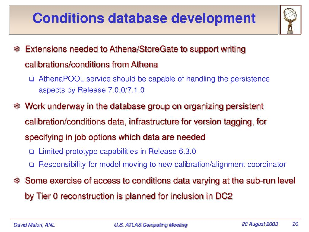 Conditions database development