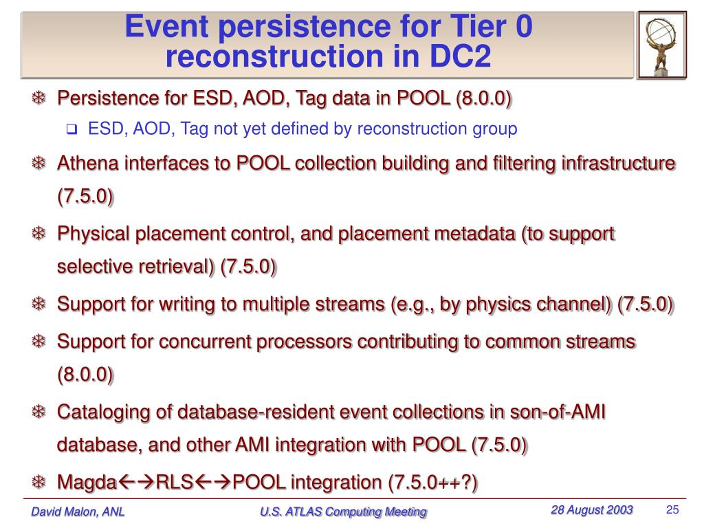 Event persistence for Tier 0 reconstruction in DC2