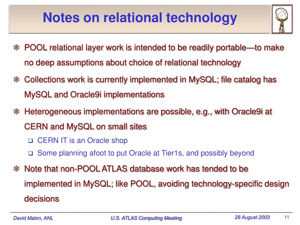 Notes on relational technology