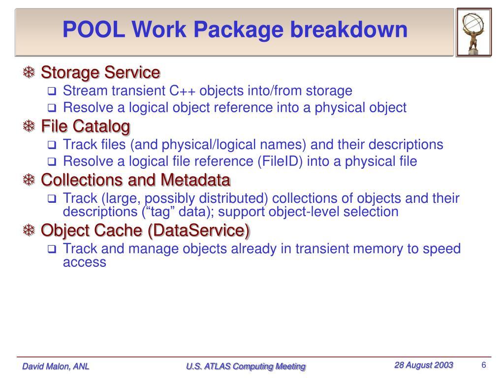 POOL Work Package breakdown