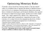optimizing monetary rules