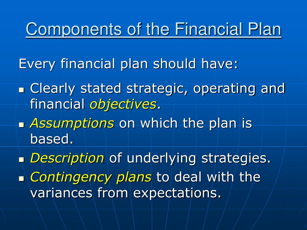 Components of the Financial Plan