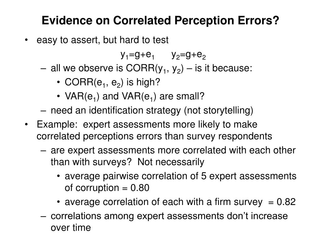 Evidence on Correlated Perception Errors?