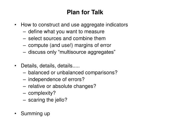 Plan for talk