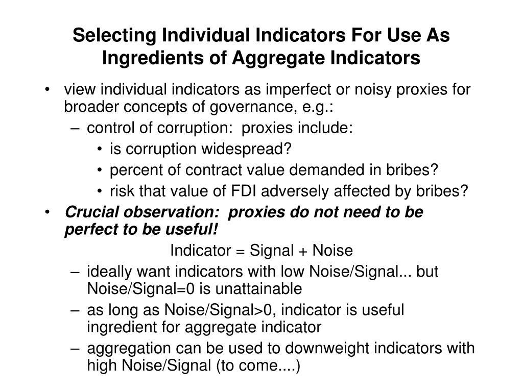 Selecting Individual Indicators For Use As