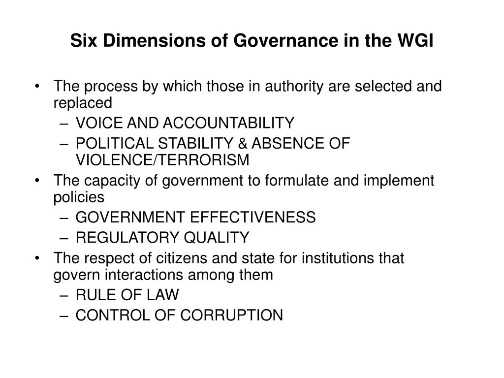 Six Dimensions of Governance in the WGI