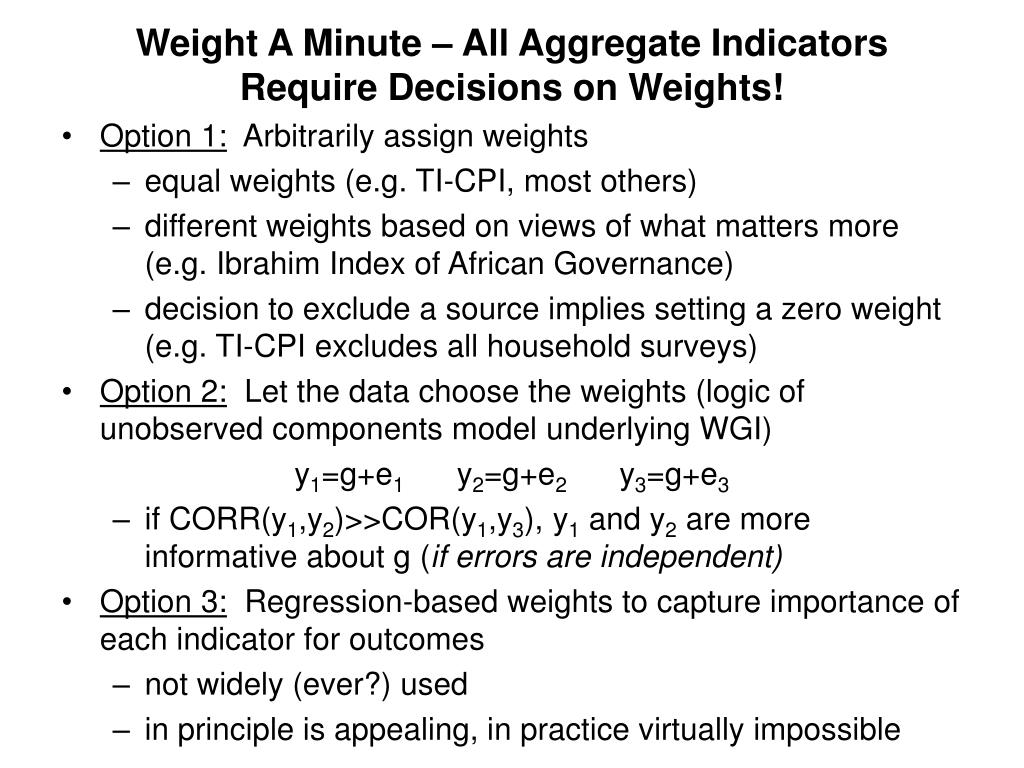 Weight A Minute – All Aggregate Indicators Require Decisions on Weights!