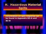 h hazardous material spills