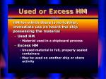 used or excess hm