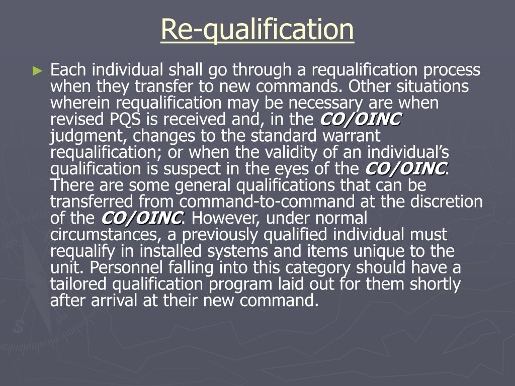 Re-qualification