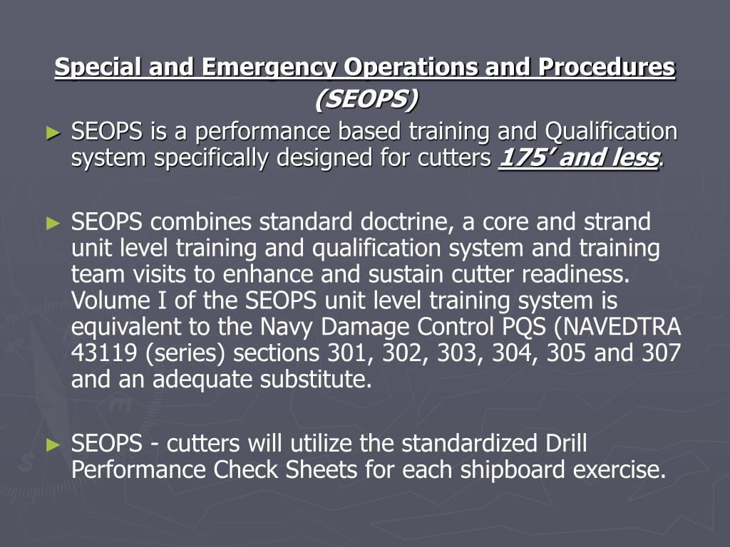 Special and Emergency Operations and Procedures