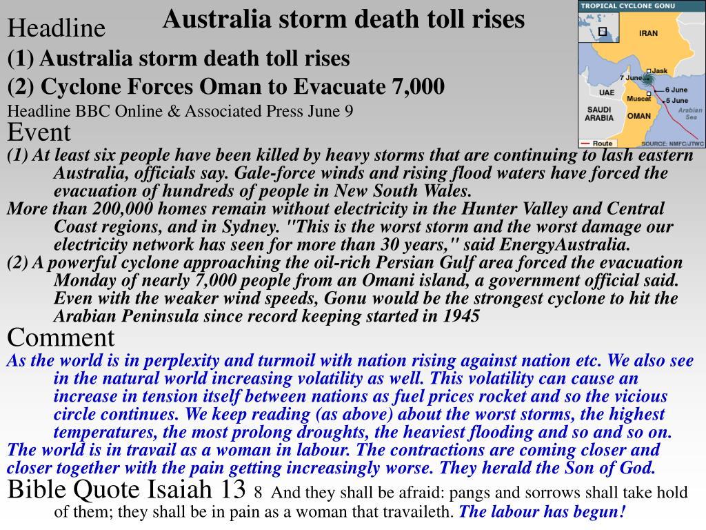 Australia storm death toll rises