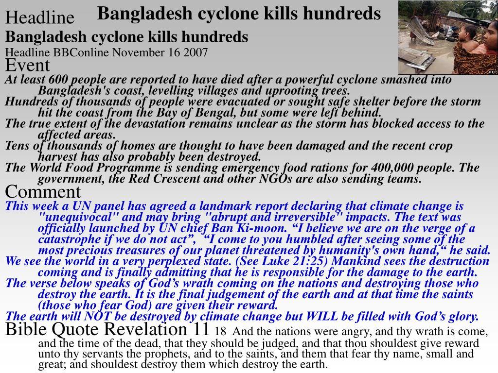 Bangladesh cyclone kills hundreds