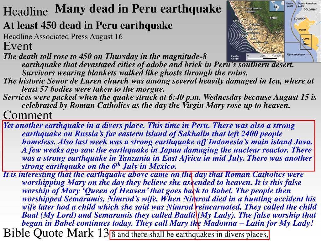 Many dead in Peru earthquake