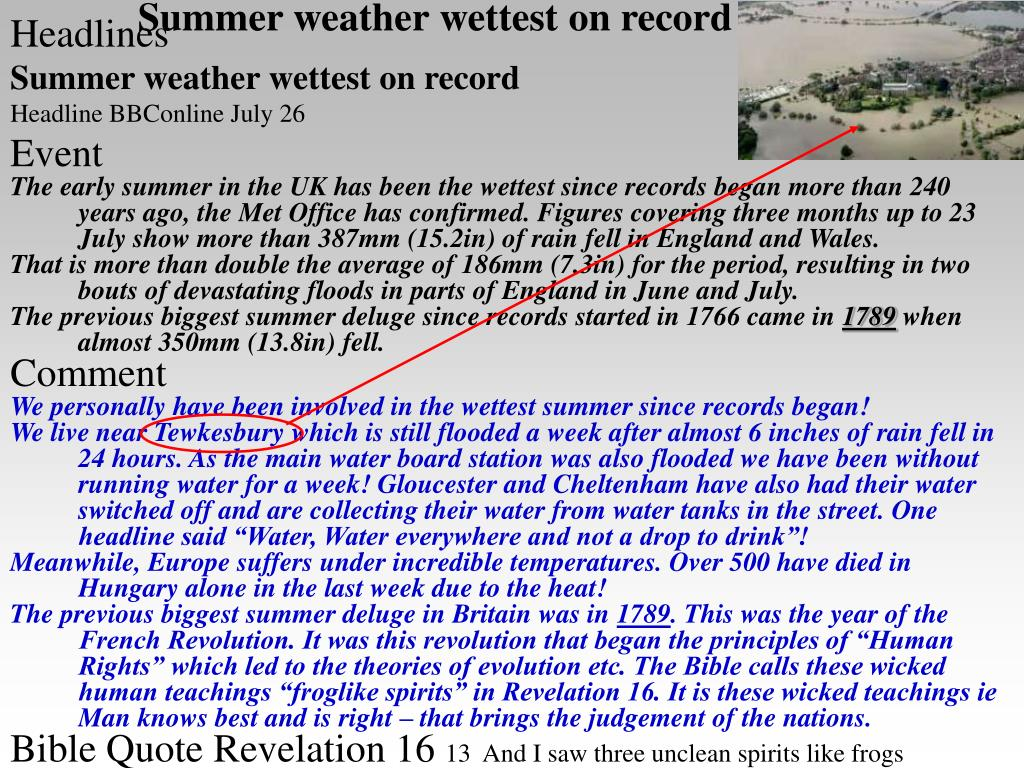 Summer weather wettest on record